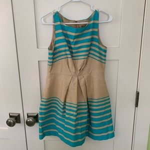 Blue and cream striped dress